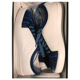 Chanel-Tennis Chanel cuir et velour blanc/bleu-Bleu