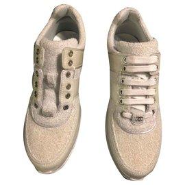 Chanel-Sneackers Chanel blanc / bleu gris cuir et tweed-Blanc cassé