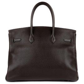Hermès-Superbe & Rare Hermès Birkin 35 bicolore en cuir Togo ebène (extérieur) & parme (intérieur) en excellent état!-Violet,Ebène