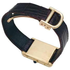 """Cartier-Cartier """"Tank Louis Cartier"""" watch in yellow gold on leather.-Other"""