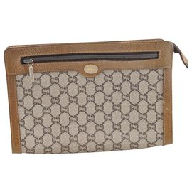 736bd546db1602 Gucci-Gucci Sherry Line GG Clutch Bag-Brown ...