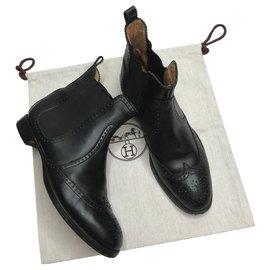 Hermès-Bottines noires Brighton-Noir