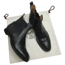 Hermès-Brighton black ankle boots-Black