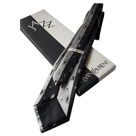 Yves Saint Laurent-cravate-Noir,Argenté
