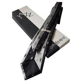 Yves Saint Laurent-tie-Black,Silvery