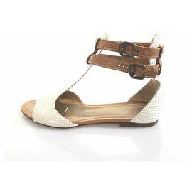 Chloé-Chloe White Woven Leather Sandal-Brown,White,Light brown