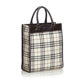 Burberry-Burberry Brown Plaid Nylon Tote-Brown,Multiple colors,Beige