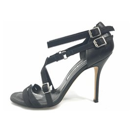 30a9c9361 Manolo Blahnik-Manolo Blahnik Black Canvas Strappy Sandal-Black ...
