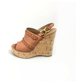 Chloé-Chloe Brown Leather Platform Slingback Wedge-Brown