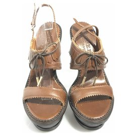 Burberry-Burberry Brown Leather Brogued Slingback Sandal-Brown,Dark brown