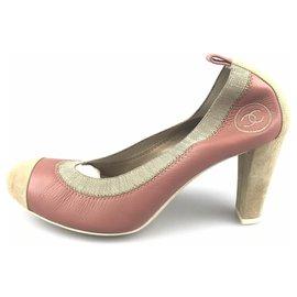 Chanel-Escarpin en daim bicolore rose Chanel-Marron,Rose,Marron clair