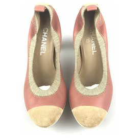 Chanel-Chanel Pink Bi-color Suede Pump-Brown,Pink,Light brown