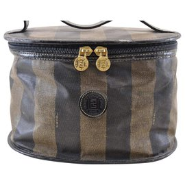 Fendi-Fendi Pequin Vanity Bag-Brown