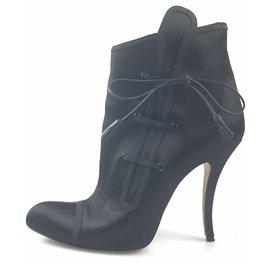 0949f08bb Manolo Blahnik-Manolo Blahnik Black Satin Lace-Up Ankle Boot-Black ...