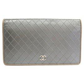 Chanel-Chanel Silver Matelasse Goatskin Long Wallet-Silvery