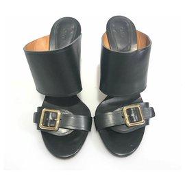 Chloé-Chloe Black Leather Wedge Mule-Black