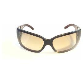 e8c05e3cd19 Chanel-Chanel Brown Oversized Wrap-Around Sunglasses-Brown,Dark brown ...