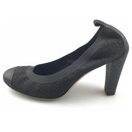 Chanel-Escarpins Chanel en dentelle noire-Noir