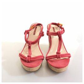Prada-Prada Pink Suede T-Strap Wedge-Brown,Pink,Light brown