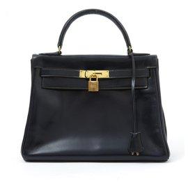 Hermès-Kelly 28 NAVY BOX-Navy blue