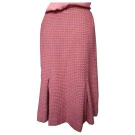 Chanel-Jupe Chanel Vintage en Tweed rose-Rose