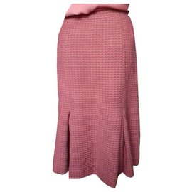 Chanel-Vintage Chanel Skirt in Pink Tweed-Pink