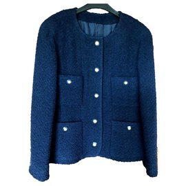 Chanel-Veste Chanel Vintage T40-Bleu Marine