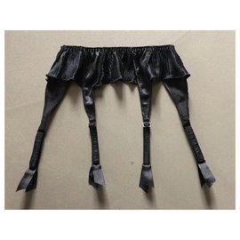 Autre Marque-silhouette - porte jarretelles satin noir retravaillé à petits plis T. 1 (soit environ 36)-Noir