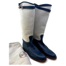 Hermès-Botas Jumping-Azul,Cru