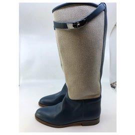 Hermès-Bottes Jumping-Bleu,Écru