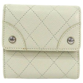 Chanel-Chanel White Caviar Hook Wallet-White