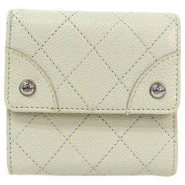 Chanel-Chanel White Caviar Hook Wallet-White