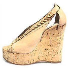 Chloé-Chloe Brown Leather Platform Slingback Wedge-Brown,Beige