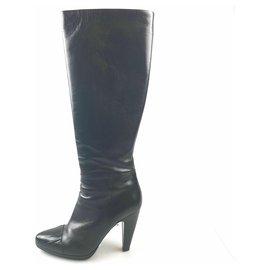3569948f Prada Black Leather Knee-High Boot - 39 eu