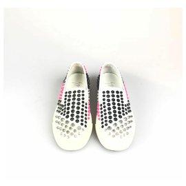 Giuseppe Zanotti-Sneaker en cuir à clous blanc Giuseppe Zanotti-Blanc