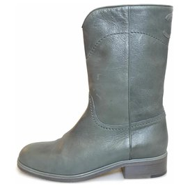 Chanel-Chanel Gray Leather Ankle Boots-Grey