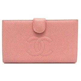 Chanel-Chanel Pink Timeless French Purse Wallet-Pink,Other
