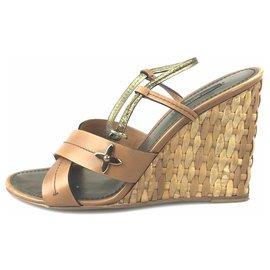 Louis Vuitton-Louis Vuitton Brown Leather Slingback Wedge Sandal-Brown