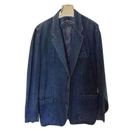 Yves Saint Laurent-Veste en Jean Yves Saint Laurent Vintage-Bleu