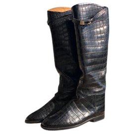Hermès-Hermes - BOTTES CAVALIÈRES JUMPING EN CROCODILE ~ €17K ~ RARE!!!-Black