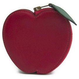 Hermès-Hermes Red Box Calf Apple Tutti Frutti Coin Purse-Red