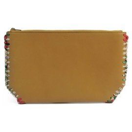 Céline-Celine Yellow Whipstitched Clutch-Yellow