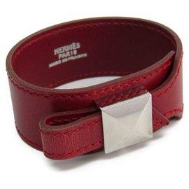 Hermès-Hermes Red Box Calf Artemis Bracelet-Silvery,Red