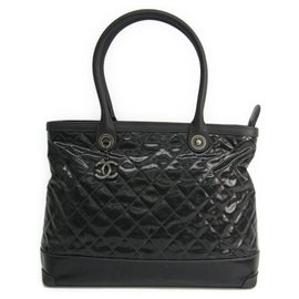 Chanel-Chanel Black Quilted Coated Canvas Tote Bag-Black