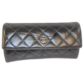aac44603693 Chanel-Porte feuille monnaie Chanel-Noir ...