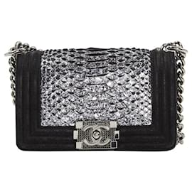 Chanel-CHANEL BOY PYTHON RARE!-Black,Silvery