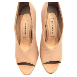 Burberry-Burberry peep toe leather booties shoes EU36.5-Beige