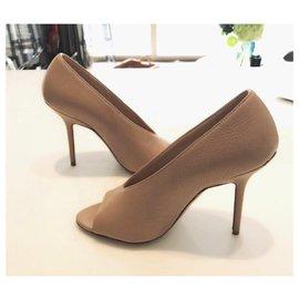 Burberry-Burberry peep toe leather booties shoes EU36.5-Beige