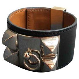 Hermès-bracelet collier chien-Noir
