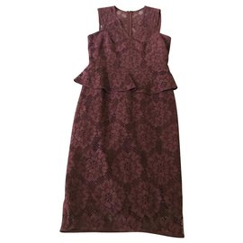 Burberry-Burberry London Lace peplum dress UK6-Prune